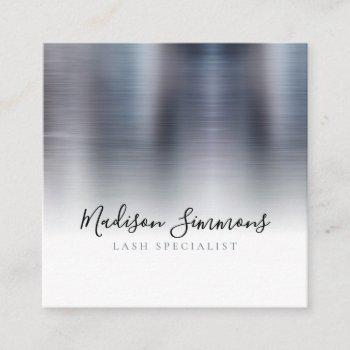 silver gray brushed metal monogram elegant script square business card