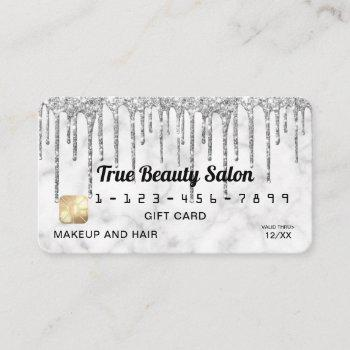 silver gray white marble glitter drips gift credit business card