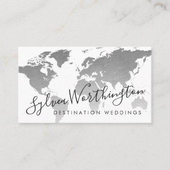 silver gray world map travel industry business card