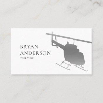 silver helicopter business card