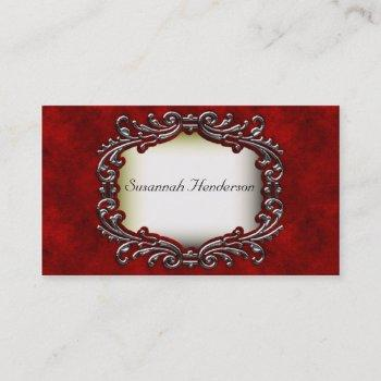 silver jewel on red velvet business cards