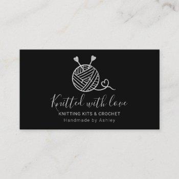 silver knitting crochet yarn handmade kit black business card