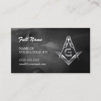 silver masonic business cards | black watercolor