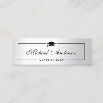silver metallic look graduation name card namecard