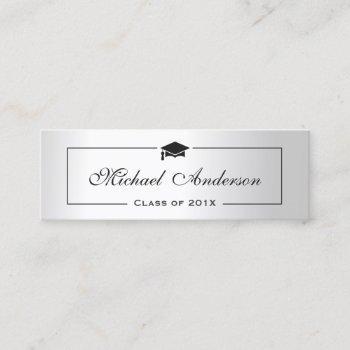 silver metallic look graduation name card namecard