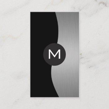 silver metallic luxe monogram business card