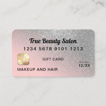 silver pink glitter credit card gift certificate