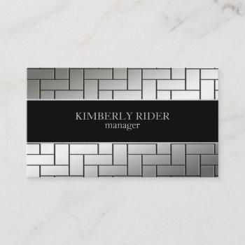 silver tile pattern business card