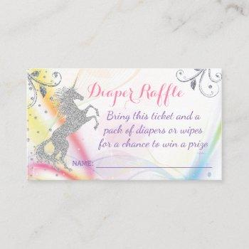 silver unicorn rainbow diaper raffle tickets
