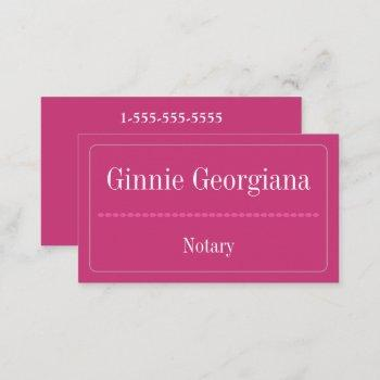 simple and basic notary business card