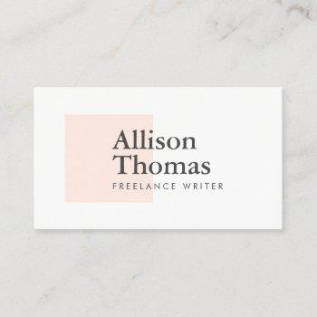 simple and minimal blush/peach square modern business card