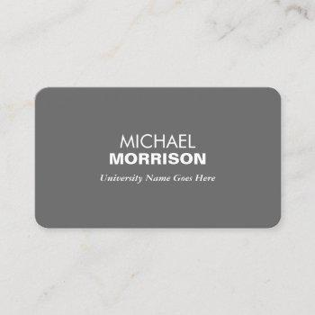 simple and modern gray graduate student university calling card