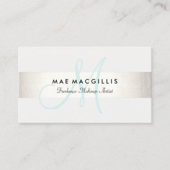 simple aqua monogram modern faux silver striped business card