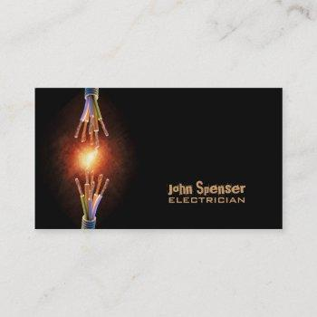 simple black electrician business card