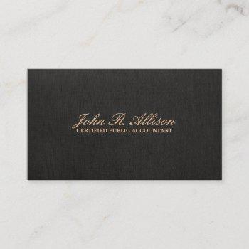 simple black faux linen accountant business card