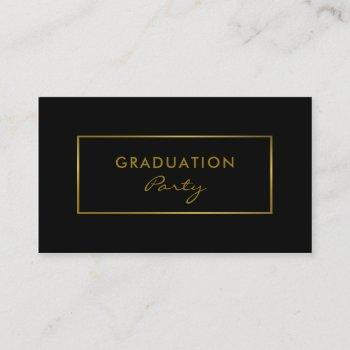 simple black & gold foil effect graduation party business card