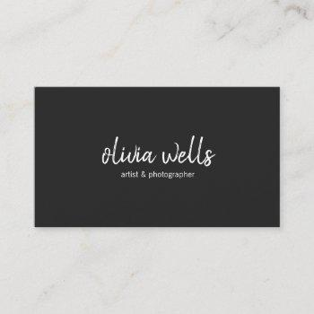 simple black handwritten social media icons business card