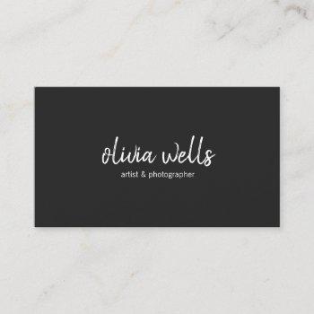 simple black handwritten social media icons business card