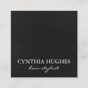 simple black leather square business card