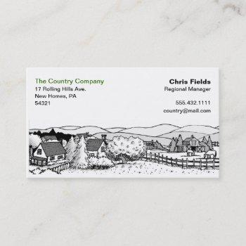 simple black & white drawing - country scene business card