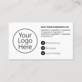 simple black white ingredients instructions logo business card
