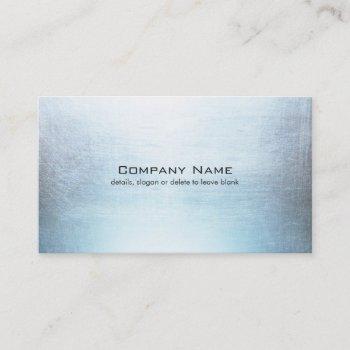 simple blue silver brushed metal look business card