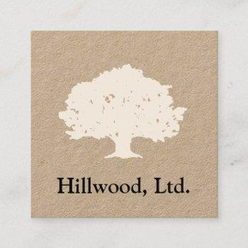 simple classic tree logo square business card