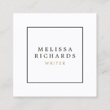 simple classic white square business card
