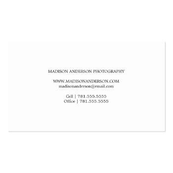 Small Simple & Clean | Photography Business Cards Back View