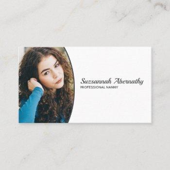 simple custom oval photo qr code business card