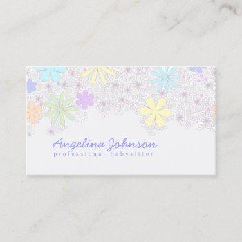 simple cute pastel flower babysitter card