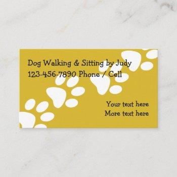 simple dog walking and sitting business card