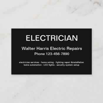 simple electrician design business card
