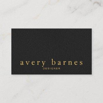 simple elegant black  leather look professional business card