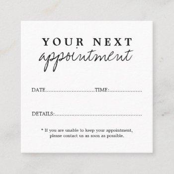 simple elegant black white beauty salon appointment card