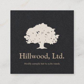simple elegant black white classic tree logo square business card
