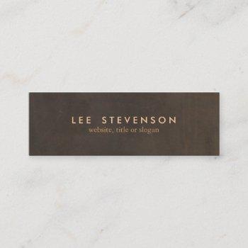 simple elegant brown leather look professional mini business card