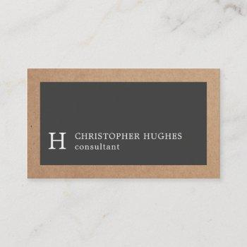 simple elegant kraft grey monogram consultant business card