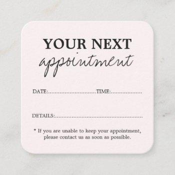 simple elegant light pink beauty salon appointment card