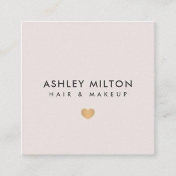 simple elegant pastel faux gold heart beauty square business card