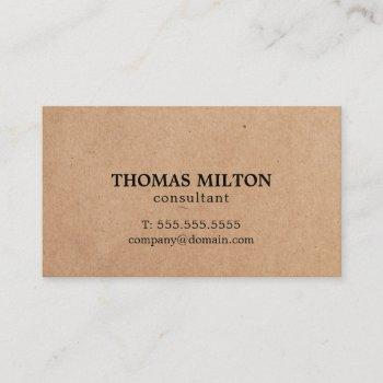 simple elegant printed kraft paper consultant business card