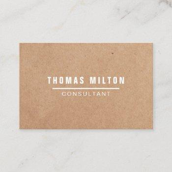 simple elegant printed kraft white line consultant business card
