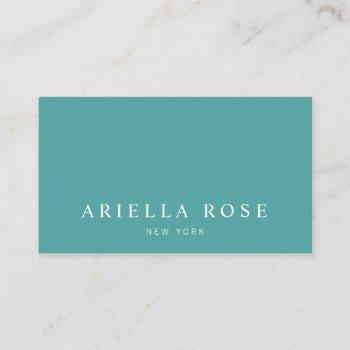 simple elegant professional teal green business card