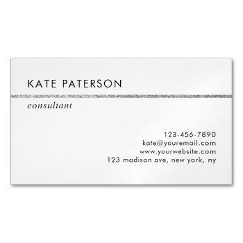 simple elegant silver glitter stripe business card magnet