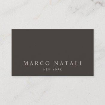 simple elegant taupe brown business card