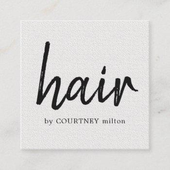 simple elegant texture white hair stylist square business card