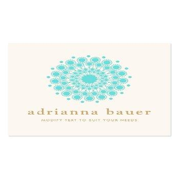 Small Simple Elegant Turquoise Blue Mandala Square Business Card Front View