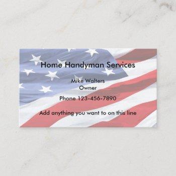 simple handyman american flag background business card