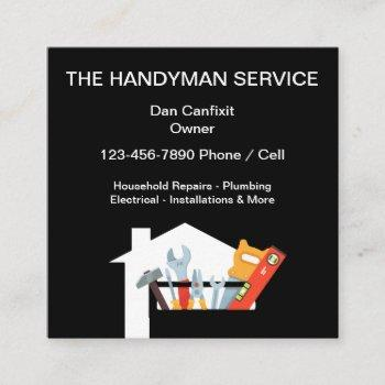 simple handyman service square business card