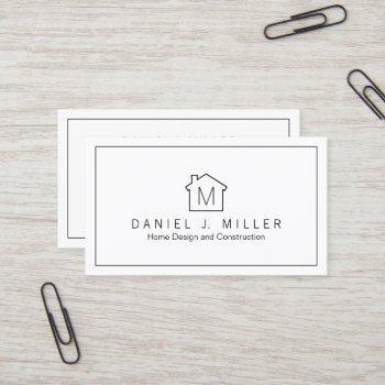 simple home logo monogram minimalist black & white business card